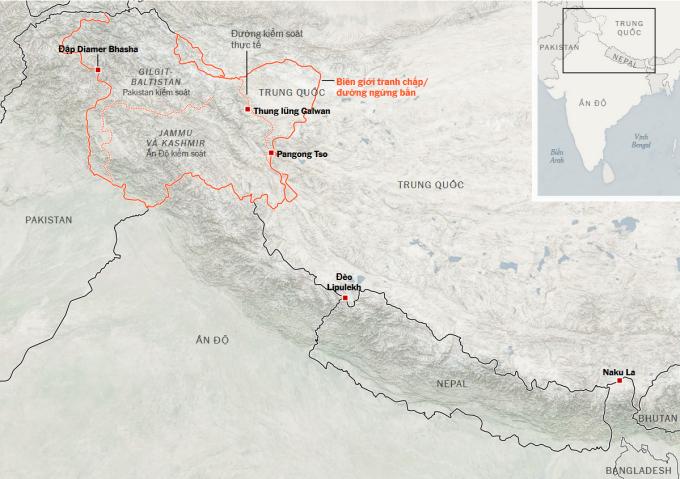 Khu vục biên giới tranh chấp giữa Trung Quốc và Ấn Độ. Đồ họa: NYT.