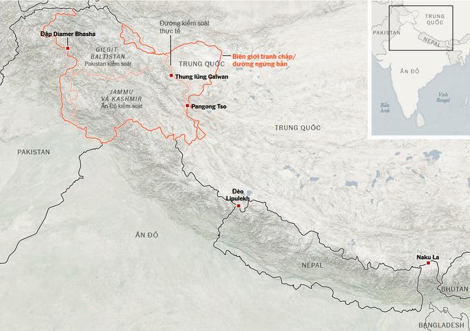Khu vực biên giới tranh chấp giữa Trung Quốc và Ấn Độ. Đồ họa: NYT.