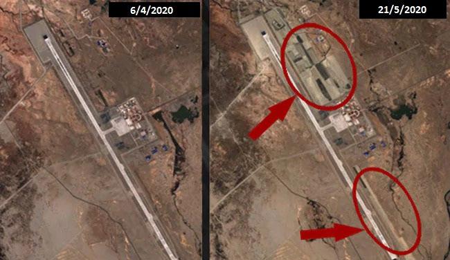 Quá trình mở rộng sân bay Ngari Gunsa từ đầu tháng 4 đến giữa tháng 5. Ảnh: NDTV.