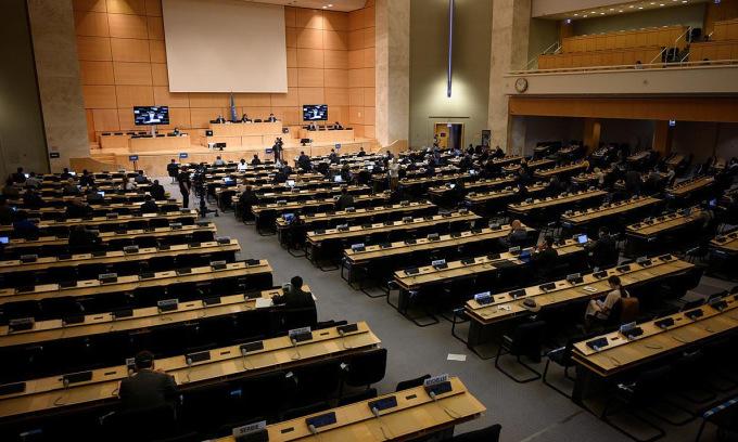 Phiên họp tại trụ sở UNHRC ở Geneva, Thụy Sĩ, hôm 15/6. Ảnh:Reuters.