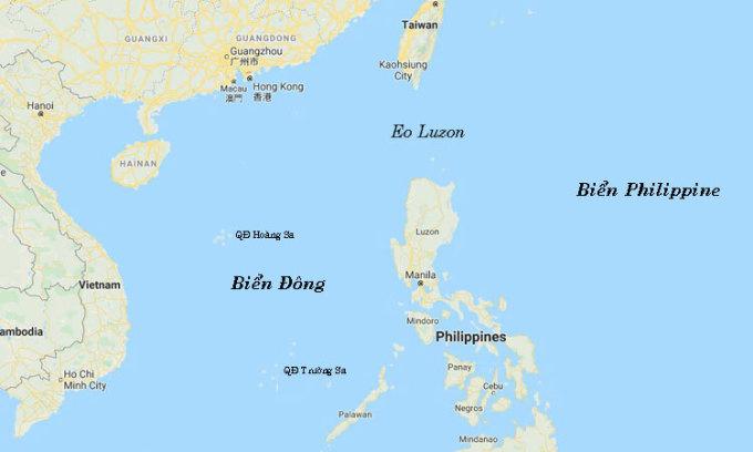 Vị trí Biển Philippines, Biển Đông và Eo Luzon. Đồ họa: Google Map.