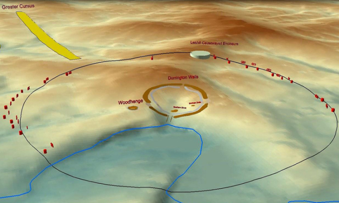 Vòng tròn hố rộng 1,9 km bao quanhDurrington Walls. Ảnh: CNN.