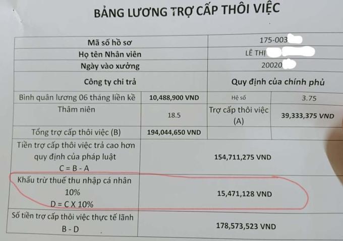 Bảng trợ cấp thôi việc của một công nhân có thời gian làm việc hơn 18 năm. Ảnh: Lam Sơn.