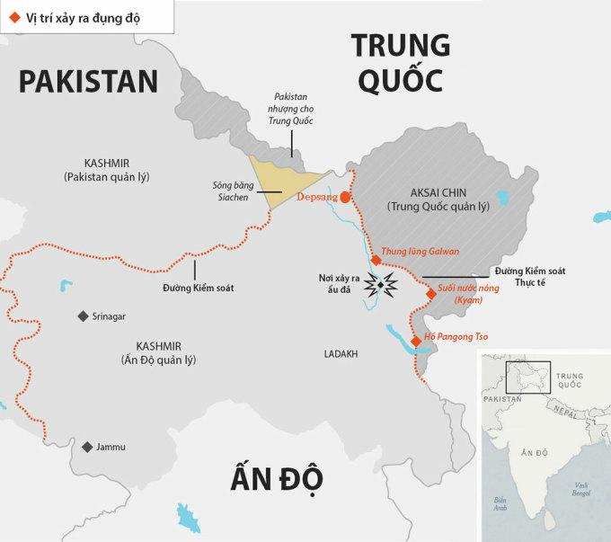 Các điểm nóng tranh chấp ở biên giới Ấn - Trung. Đồ họa: Telegraph.