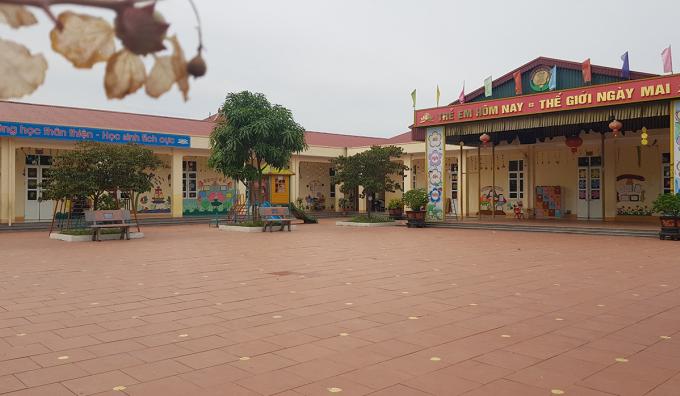 Khu nhà dùng làm phòng học trường Mầm non Nga Thái mới được xây dựng năm 2016. Ảnh: Lê Hoàng.