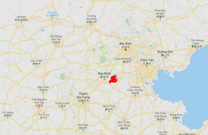 Vị trí huyện An Tân (màu đỏ) thuộc thành phốBảo Định, tỉnh Hà Bắc, Trung Quốc. Đồ họa: Googel Map.