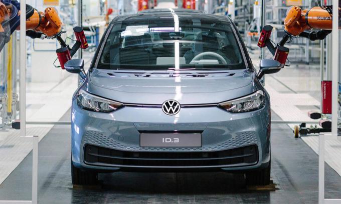 Xe điện Volkswagen ID.3 tại nhà máy Zwickau-Mosel. Ảnh: Volkswagen