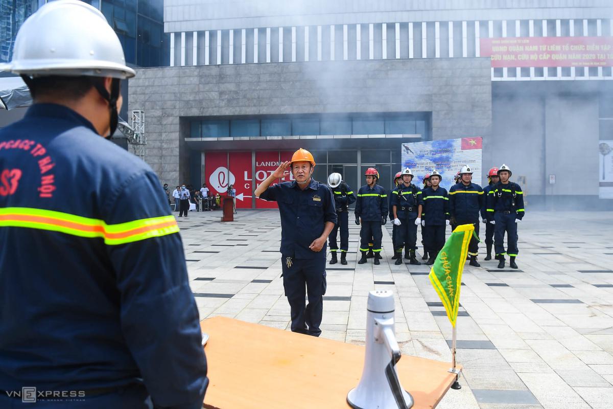 Diễn tập PCCC tại tòa nhà cao nhất Hà Nội