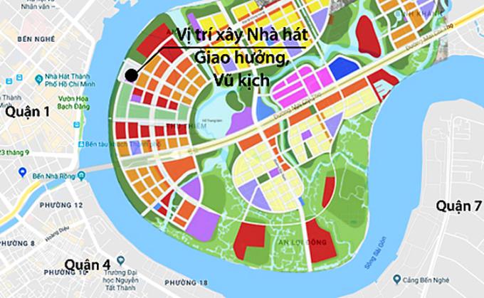 Nhà hát Giao hưởng, Nhạc và Vũ kịch sẽ được xây tại Khu chức năng số 1 của Khu đô thị Thủ Thiêm, cách trung tâm thành phố khoảng 300 m. Ảnh: Google maps