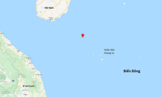 Khu vực Trung Quốc sắp diễn tập trái phép (chấm đỏ) tại quần đảo Hoàng Sa của Việt Nam. Đồ họa: Google Maps.