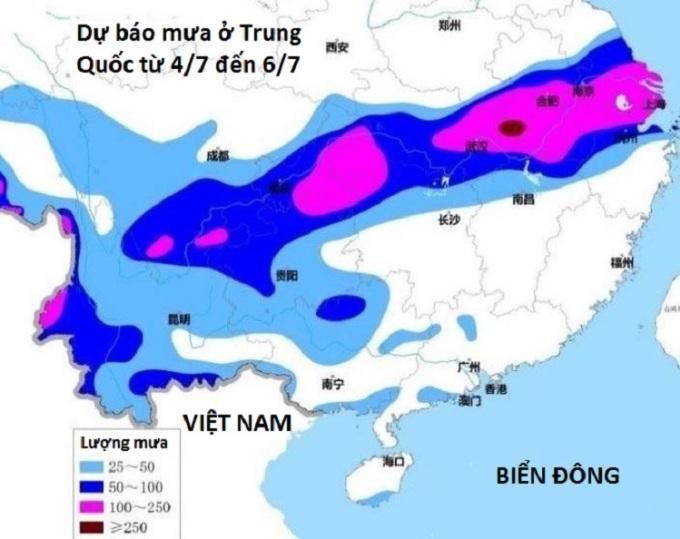 Bản đồ dự báo lượng mưa ở Trung Quốc từ ngày 4/7 đến 6/7. Đồ họa: CMA.