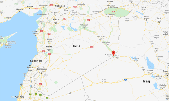 Vị trí thành phố al-Bukamal của Syria (đánh dấu màu đỏ). Đồ họa: Google.