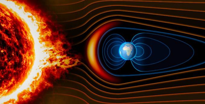 Đồ họa mô phỏng từ trường của Trái Đất ngăn bức xạ có hại từ Mặt Trời. Ảnh: Earth.