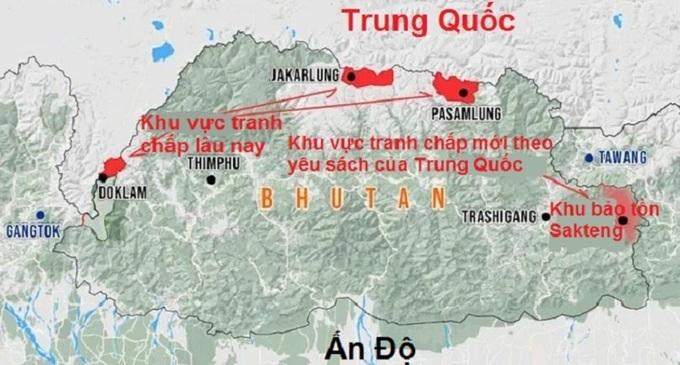 Khu vực tranh chấp lâu nay giữa Trung Quốc và Bhutan cùng khu vực tranh chấp mới theo yêu sách của Trung Quốc. Đồ họa:Strat News Global