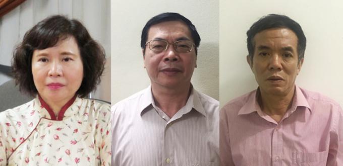 Các bị can (từ trái qua) Hồ Thị Kim Thoa, Vũ Huy Hoàng và Phan Chí Dũng. Ảnh: Bộ Công an