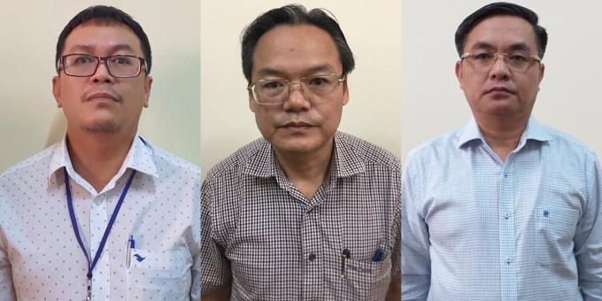 Bị can Trần Trọng Tuấn (phải), Phan Trường Sơn (giữa) và Lê Tấn Hoà tại cơ quan điều tra ngày 11/7. Ảnh: Bộ Công an.