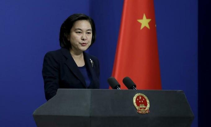 Phát ngôn viên Bộ Ngoại giao Trung Quốc Hoa Xuân Oánh phát biểu tại Bắc Kinh, tháng 1/2016. Ảnh: Reuters.