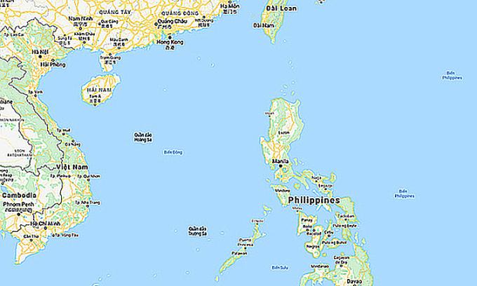 Khu vực Biển Đông. Đồ họa:Google.