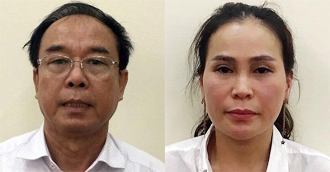 Ông Nguyễn Thành Tài (trái) và Lê Thị Thanh Thúy tại cơ quan điều tra cuối năm 2018. Ảnh: Bộ Công an.