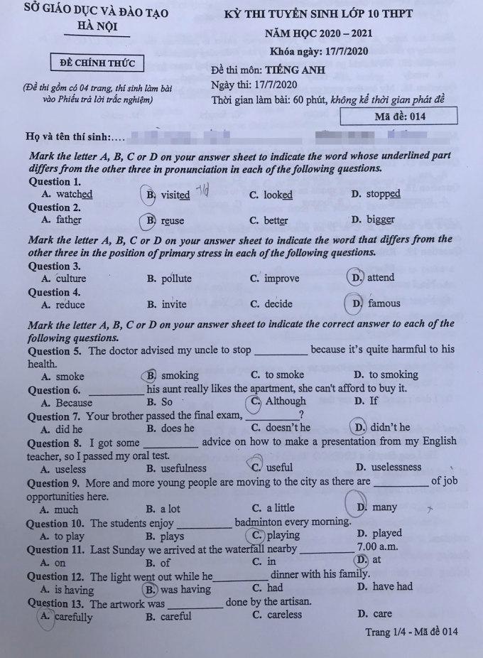 Đề tiếng Anh vào lớp 10 công lập