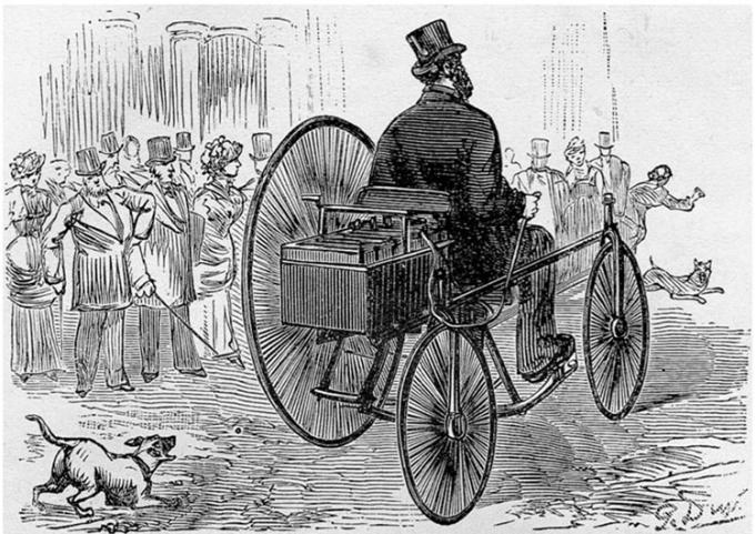 Xe ba bánh điện của Gustave Trouvé trên đường phố Pháp năm 1881. Ảnh: Rare Historical Photos.