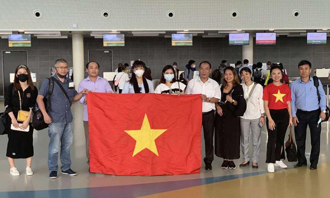 Công dân Việt Nam tại Maroc trước khi lên đường về nước. Ảnh: Bộ Ngoại giao.