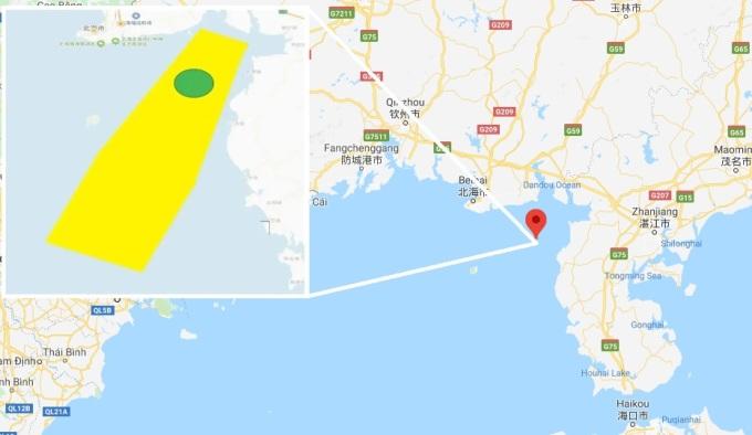 Vị trí Trung Quốc tổ chức diễn tập bắn đạn thật ngày 25-27/7 (màu vàng) và ngày 28/7-2/8 (màu xanh lá cây). Đồ họa: Google, PLA.