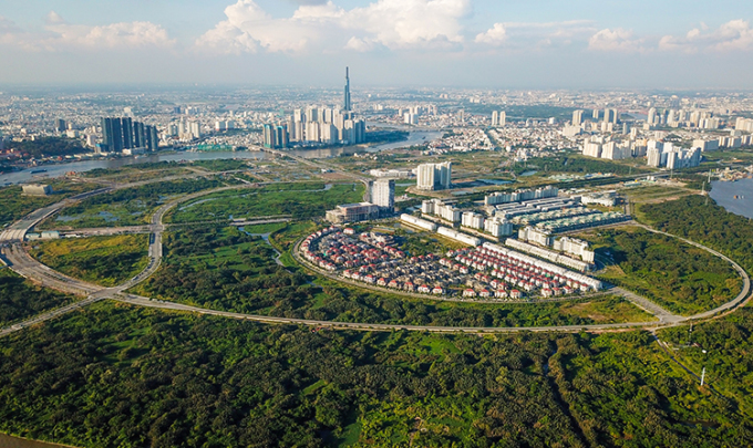 Khu đô thị mới Thủ Thiêm nhìn từ trên cao vào tháng 11/2018. Ảnh: Quỳnh Trần