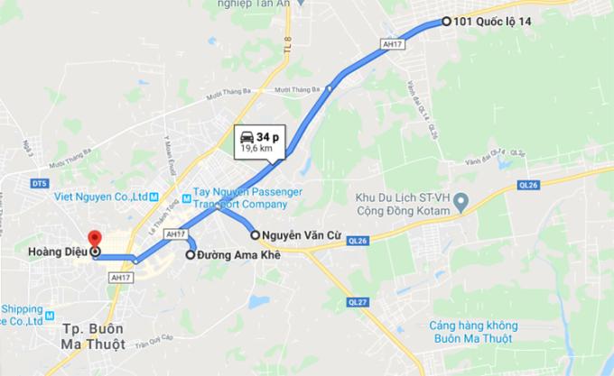 Bốn khu vực phong tỏa ở TP Buôn Ma Thuột. Ảnh: Google maps.