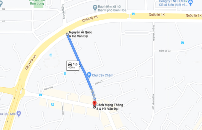 Tuyến đường Hồ Văn Đại bị phong tỏa dài 400 m. Ảnh: Google maps.