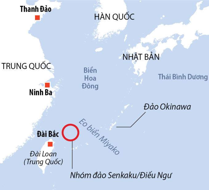Vị trí nhóm đảo tranh chấp Senkaku/Điếu Ngư. Đồ họa: Reuters