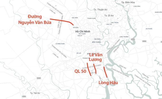 Bốn trong bảy tuyến đường sẽ được mở rộng từ TP HCM về Long An. Ảnh: Thanh Huyền.