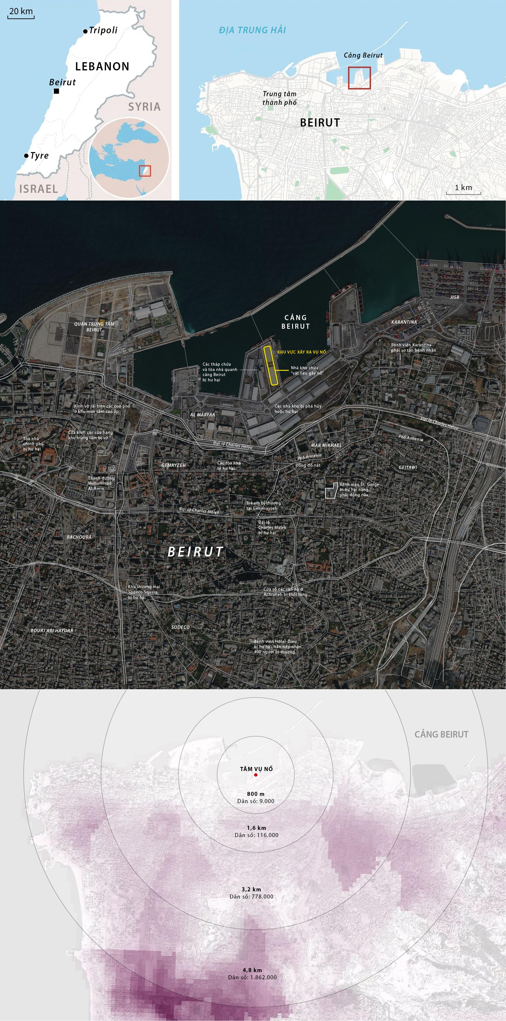 Bán kính công phá trong vụ nổ tại Lebanon