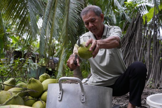Ông Trần Trung Tác chặt dừa nấu nước màu (dùng để kho cá) vì dừa đèo đẹt thương lái chê. Ảnh: Hoàng Nam