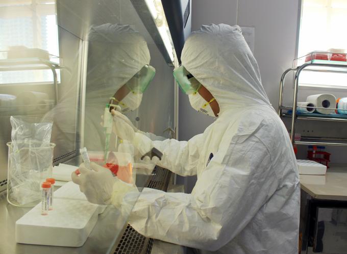 Nhân viên kỹ thuật Viện Pasteur Nha Trang đang thực hiện xét nghiệm. Ảnh: An Phước.