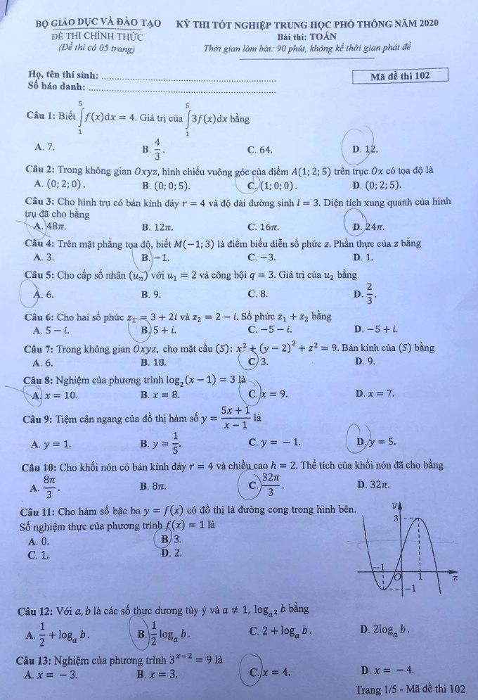 Đề và đáp án Toán thi tốt nghiệp THPT