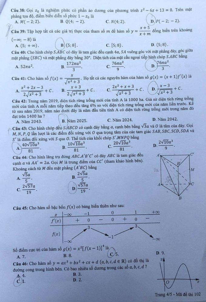 Đề và đáp án Toán thi tốt nghiệp THPT - 6