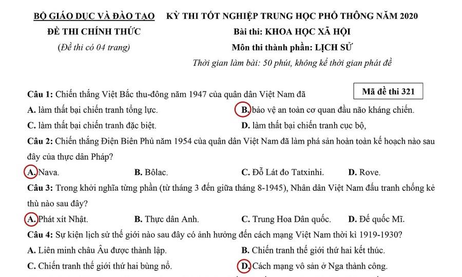 Đề và đáp án môn Lịch sử thi tốt nghiệp THPT