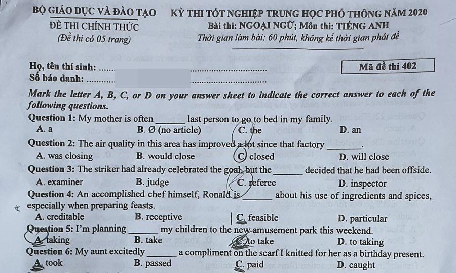 Đề và đáp án tiếng Anh thi tốt nghiệp THPT