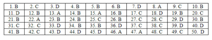 Đáp án 24 mã đề Tiếng Anh thi tốt nghiệp THPT - 32