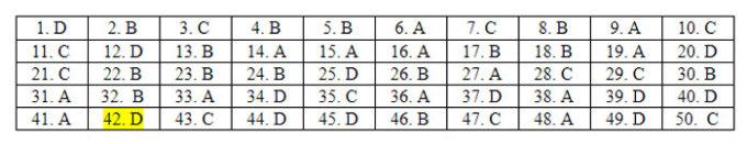 Đáp án 24 mã đề Tiếng Anh thi tốt nghiệp THPT - 46