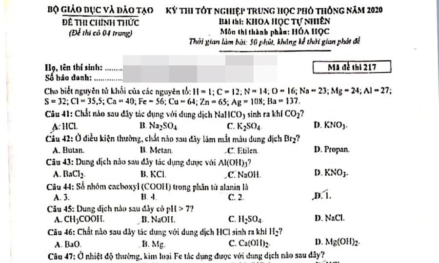 Đề và đáp án môn Hóa thi tốt nghiệp THPT