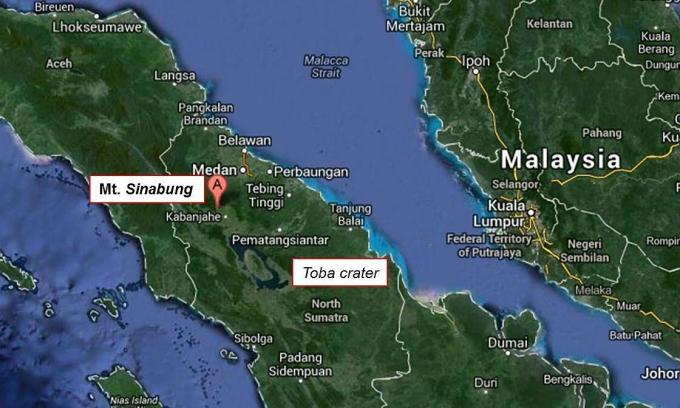 Vị trí núi lửa Sinabung trên bản đồ. Đồ họa: Google Map.