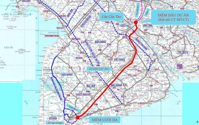 Bản đồ hướng tuyến cao tốc Cần Thơ - Cà Mau (đường đỏ). Ảnh: Cửu Long