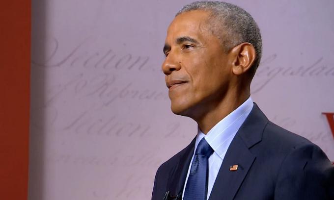Tổng thống Obama phát biểu trong Đại hội đảng Dân chủ từ Bảo tàng Cách mạng Mỹ ở Philadelphia ngày 19/8. Ảnh: AFP.