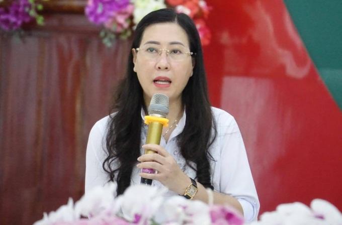Bà Bùi Thị Quỳnh Vân tại hội nghị sáng nay. Ảnh: Ngọc Đức.