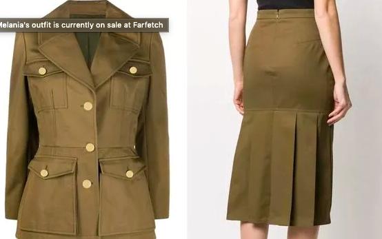 Cận cảnh trang phục của bà Melania được bán trên trang bán lẻ thời trang cao cấp Farfetch. Ảnh: Farfetch.