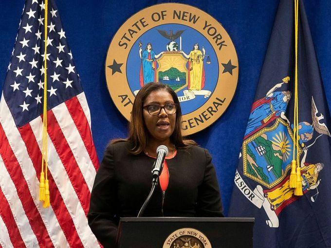 Tổng chưởng lý New York Letitia James tại cuộc họp báo ở New York ngày 6/8. Ảnh: Reuters.