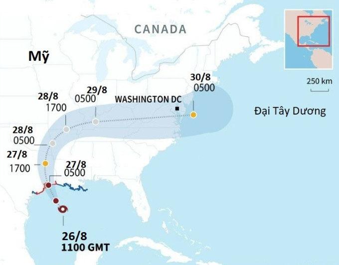Dự báo đường đi của bão Laura. Đồ họa: AFP.