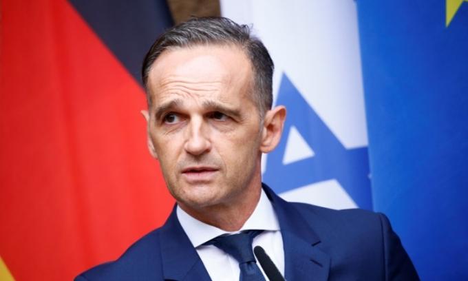 Ngoại trưởng Đức Heiko Maas trong cuộc họp báo ở Berlin hôm 27/8. Ảnh: AFP.